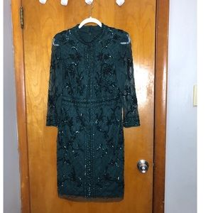 Adrianna Papell Green Women Size 10 Petite Beaded